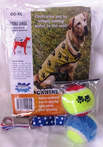 Dog Cooling Vest Bundle with two Tennis Balls and a 50
