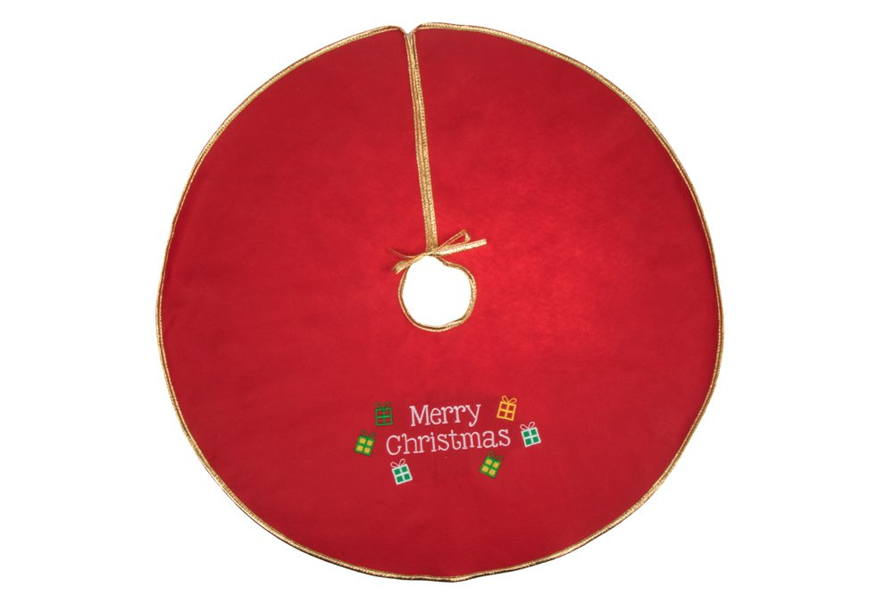 "Clever Creations Gold Edged Merry Christmas Embroidered Tree Skirt Festive Red and White Design | Traditional Holiday Theme | Tie Closure | Helps Contain Needle and Sap Mess | 32"" Diameter"