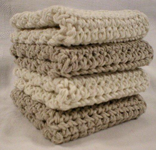 Handmade Knit - Handmade Crochet Cotton Washcloths Dishcloths, Set of 4: 2 Beige, 2 Cream