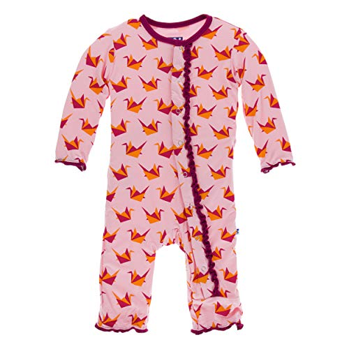 Kickee Pants Little Girls Print Muffin Ruffle Coverall Snaps - Lotus Origami Crane, 12-18 Months ()
