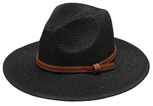 Epoch hats Women's Braid Straw Wide Brim Fedora Hat UPF 50+ w/Adjustable Drawstring