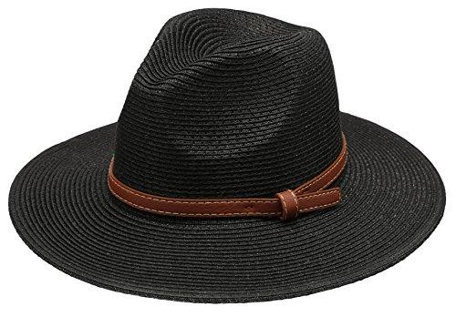 Epoch hats Women's Braid Straw Wide Brim Classic Fedora Sun Hat UPF 50+ with Adjustable Drawstring (Black Straw Hat)
