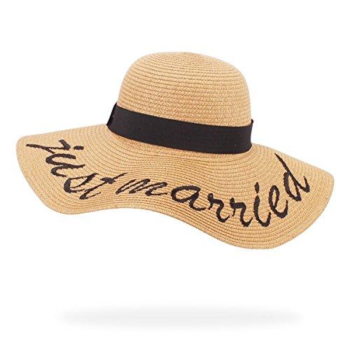 belababy Womens Floppy Big Brim Sun Hat for Fall Foldable Beach Elegant Cursive Embroidered Straw Hat