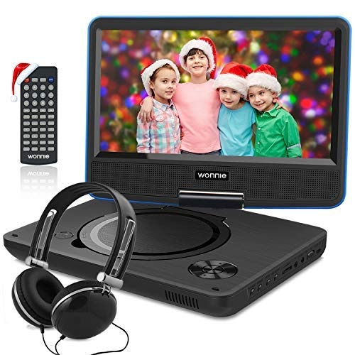 10.5 Inch Portable DVD Player for Kids with 9.5 inch Swivel Screen, USB / SD Slot Built in 4 Hours Rechargeable Battery (Blue)