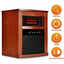TRUSTECH Electric Space Heater, 1500W Portable Infrared with Remote Timer Function 3 Modes with Overheat Tip-Over Shut Off Wood Cabinet Large Brown …