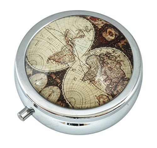 WuCong Old World Map Custom Fashion Design Glass Round Pill Case Western Medicine Tablet Holder Decorative Box