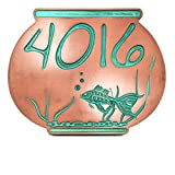 Fish Bowl Address Plaque - 12x9.5 - Recessed Copper Verdi Metal Coated Sign