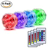 Ameyes Submersible LED Lights,Remote Controlled 16 Several Options & Waterproof LED Vase Light-4 Pack
