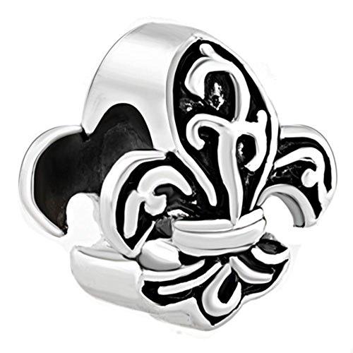 Lis Bracelet De Fleur Heart - CharmSStory Antiqued Fleur De Lis France Flower Charms Beads Charms For Bracelets