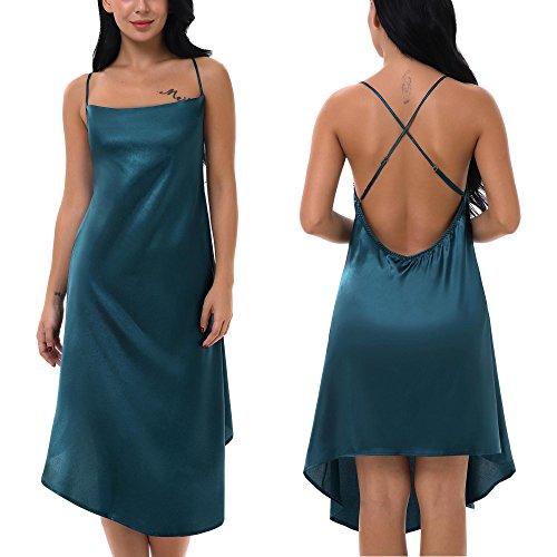 Yulee Women Satin Chemise Lingerie Trimmed Full Length Slip Dress Green, L -