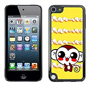 Slim Design Hard PC/Aluminum Shell Case Cover for Apple iPod Touch 5 Cute Monkey Laugh / JUSTGO PHONE PROTECTOR