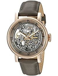 Fossil Women's ME3089 Stainless Steel Automatic Self-Wind Watch with Grey Leather Band
