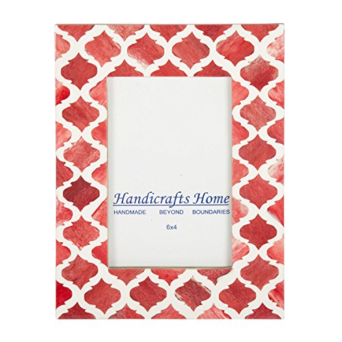 Picture Photo Frame Moorish Damask Moroccan Arts Inspired Handmade Naturals Bone Frames Photo Size 4x6 & 5X7 Inches (4X6, Red & White) -