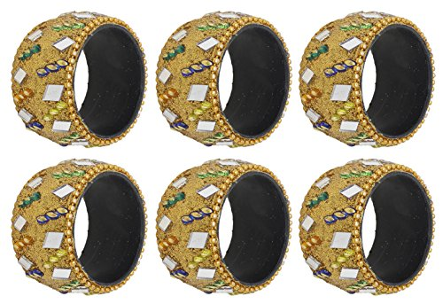 SKAVIJ Cute Yellow Napkin Rings Set of 6 for Table Decoration Wedding Party Holiday Dinner