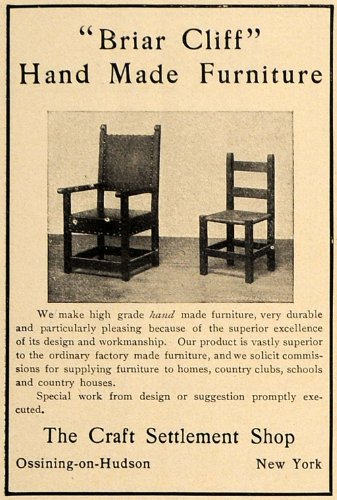 1906 Ad Craft Settlement Briar Cliff Handmade Chairs - Original Print Ad