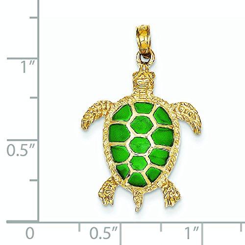 14 carats JewelryWeb acrylique translucide vert-Pendentif tortue de mer
