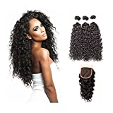 Cheap Suerkeep 8A Brazilian Virgin Water Wave Bundles With Free Part Lace Closure Unprocessed Remy Weave Human Hair Weft (14 16 18+12, #1b)