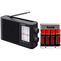 Sony ICF506 Analog Tuning Portable FM/AM Radio w/ Focus Camera Rechargeable NiMH 4 AA Batteries with Charger