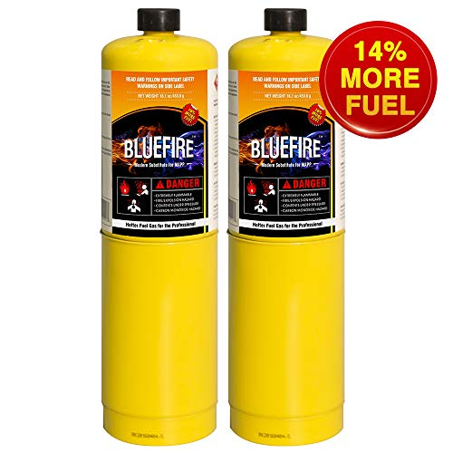 Pack of 2, BLUEFIRE Modern MAPP Gas Cylinder, 16.1 oz, 14% More Bonus Fuel than MAP/PRO, Hotter than Propane! Variation of Quantity Bundles Available (2) by MR. TORCH (Image #8)