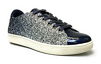 Forever Link Women's Glitter Fashion Sneakers (8.5, Navy Glitter-1)