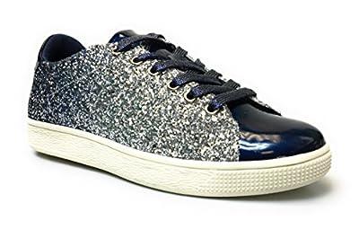 Forever Link Women's Glitter Fashion Sneakers (9, Navy Glitter-1)