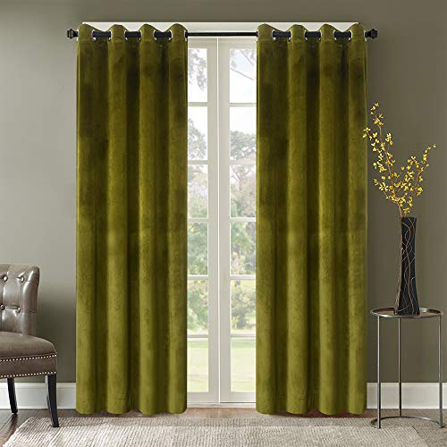 Roslyn Blackout Soft Luxury Velvet Olive Green Curtains Panels for Bedroom - Window Treatment Thermal Insulated Solid Grommet Blackout Drapes for Living Room,52Wx84L(2 Panels)