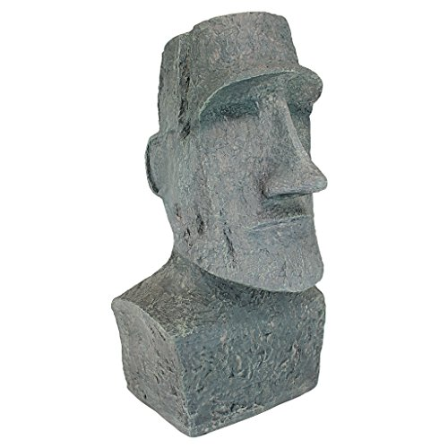 (Design Toscano Easter Island Ahu Akivi Moai Monolith Garden Statue, Large 24 Inch, Polyresin, Grey Stone)