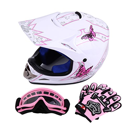 Sange DOT Youth Kids Offroad Helmet Motocross Helmet Dirt Bike ATV Motorcycle Helmet Gloves Goggles (White, Medium)