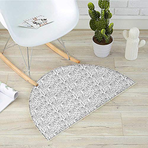 Tea Party Half Round Door mats Doodle Drawing Monochrome Tableware Pattern with Biscuits and More Tea Quote Bathroom Mat H 51.1