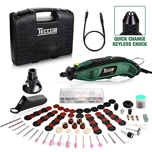 Rotary Tool TECCPO Professional 8,000-35,000RPM, Universal Keyless Chuck, Flex shaft, Cutting Guide, Auxiliary Handle 84 Accessories Attachments, Perfect Gift for Crafts DIY projects