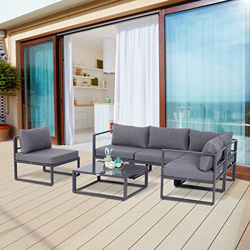 Outsunny 5 Seaters Patio Sectional Corner Sofa Set and Table Grey