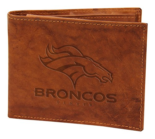 Broncos Brown Leather - NFL Denver Broncos Embossed Genuine Leather Billfold Wallet