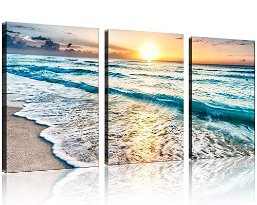 TutuBeer 3 Panel Canvas Wall Art for Home Decor Blue Sea Sunset White Beach Painting The Picture Print On Canvas…