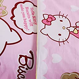 Warm Embrace Children Bedding Series 100% Cotton Hello Kitty Pink Candy Duvet Cover Set & Fitted sheet,Queen 86\