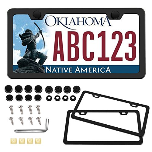 Plastic License Plate Holder - Black Car Chrome License Plate Frame Cover Holder Slim Design Powder Coated Black Matte Finish with Stainless Steel Screws Sets Included (Slim Design)
