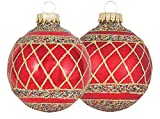 Christmas Flame Red Candy Cane Ball Ornament - Set of 4