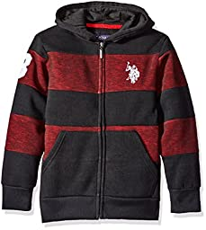 U.S. Polo Assn. Big Boys\' Cut and Sew Wide Stripe Fleece Hoody, Red, 10/12