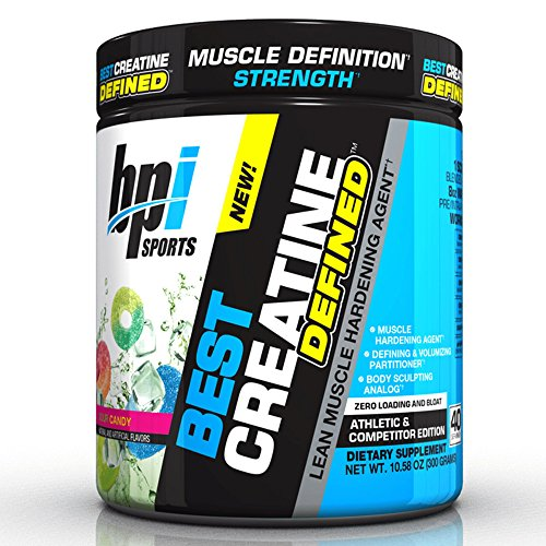 BPI Sports Best Creatine Defined Lean Muscle Hardening Agent, High Performance Monohydrate Powder, Sour Candy, 10.58 (Performance Volumizing)