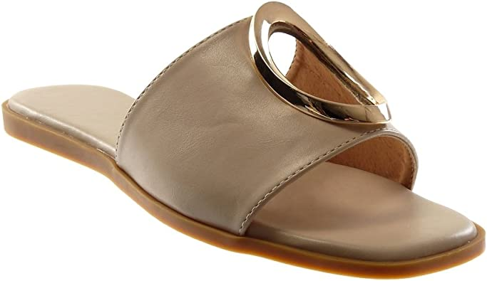 Angkorly Chaussure Mode Sandale Mule Slip on Femme perforée doré Talon Plat 1 CM
