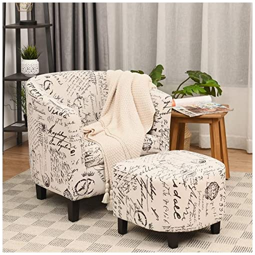 Farmhouse Accent Chairs Giantex Modern Accent Chair with Ottoman, Upholstered Barrel Tub Chair and Footrest Set, Linen Fabric Club Arm Chair w… farmhouse accent chairs