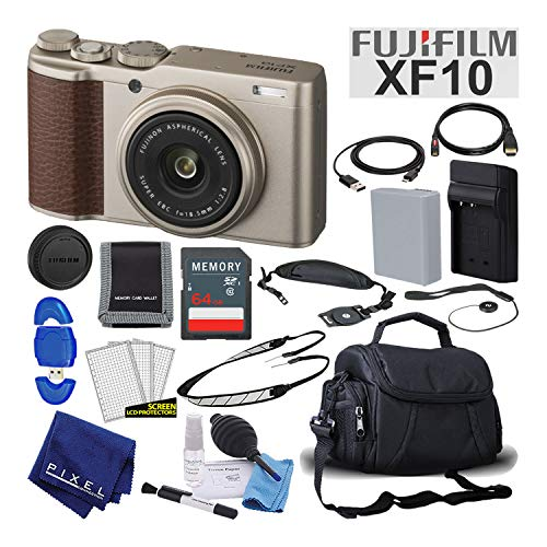 Fujifilm XF10 X-Series 24.2 MP Point & Shoot Digital Camera (Gold) with Cleaning Kit, 64GB Card and More Mid-Range Bundle