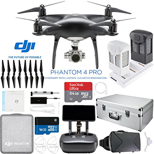 DJI Phantom 4 PRO+ Plus Quadcopter Drone (Obsidian) with Extra Battery Plus microSD 64GB Card and Aluminum Case Bundle by Beach Camera
