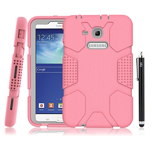 Samsung Galaxy Tab E Lite 7.0 Case, Galaxy Tab 3 Lite 7.0 Case, ZxU Soft Rugged [Armor Defender] Heavy Duty Kids Proof Protective Case with Stylus for SM-T110 / SM-T111 / SM-T113 / SM-T116, Pink