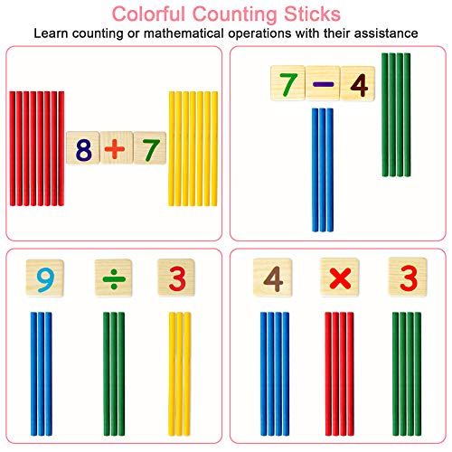 Educational Wooden Toy, Kids Number Time Counting Drawing Learning Toy with Doodle Board Chalk Eraser, Learning Toy for 3+ Year Old Toddler Boys Girls