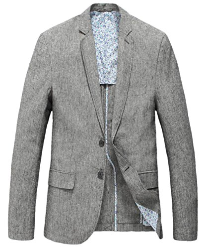 Chouyatou Men's Lightweight Half Lined Two-Button Suit Blazer (Small, Grey) Lined Tailored Blazer