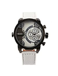 OULM Men's Daddies Casual Quartz Wrist Watch White Leather Strap Japan Movement Military Style 2 Time Zone Sub Dial + Gift Box