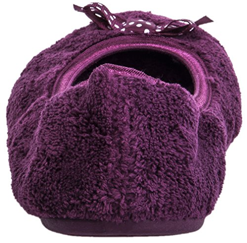 Insole Travel Shoes Foldable Indoor Slippers Slip Soft Festooning Purple Ballerina Slip on Anti House Clog Outdoor Women S8x1wB