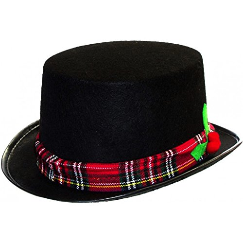 Caroler Snowman Black Fabric Top Hat Costume Holiday (1 Hat)