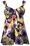 Women's Plus Size Swimsuit Floral Butterfly Printed Swimdress Two Piece Tankini Yellow US 20-22W