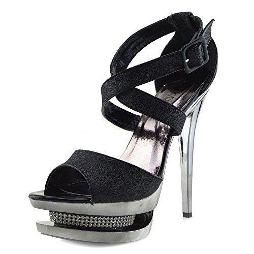 Kick Footwear Womens Charmaine Clear Perspex High Heels Fashion Platform Pole Dancing Shoes Black AB836 cSRwDo6